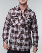 Mo7 Men Plaid Woven With Contrast Piping Brown X-L