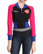 Women Longsleeve Colorblock Varsity Jacket Fleece