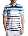 Men Engineered Stripe V-Neck Tee Blue X-Large