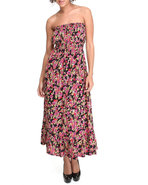Women Smocked Shali Ditsy Print Maxi Black Small