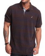 Men Standard Striped Polo Brown Medium