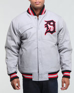 Men Detroit Wolves Varsity Jacket Grey Xx-Large
