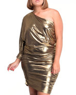 Women One Shoulder Foil Dress (Plus) Gold 1X