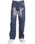 Men Skull/Roses Front-Stoned Denim Jeans Medium Wa