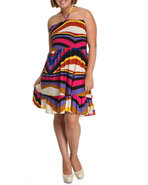 Women Abstract Print Smocked Tube Dress (Plus) Pur