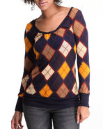Women Argyle Print Long Sleeve Knit Top Blue Small