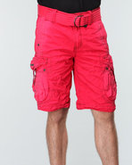 Men Cargo Short W/ Buckle Pockets Red 38