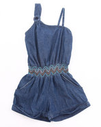 Girls One Shoulder Denim Romper (7-16) Medium Wash