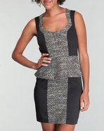 Xoxo Women Sleeveless Peplum Colorblock Dress Blac