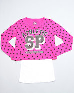 Girls Polka Dot Dolman Sleeve Twofer Top (7-16) Pi