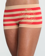 Women Stripe Across Ab Seamless Boyshort Red Large