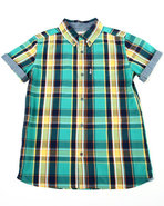 Levi's Boys Belgrade Plaid Woven (8-20) Green Medi