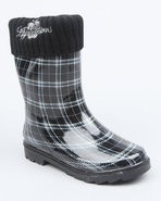 Girls Fleece Insulated Harness Logo Plaid Rainboot