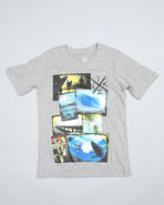 Boys Scraped Tee (8-20) Grey X-Large