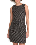 Women Houndstooth Print Dress Black Small