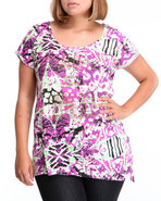 Women Prey For Me Asymmetrical Mixed Print Tee Pur