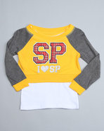 Girls Pullover 2Fer Top (4-6X) Yellow 4