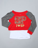 Girls Pullover 2Fer Top (4-6X) Red 4