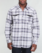 Mo7 Men Buffalo Plaid Shirt Black Large