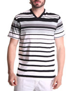 Men Engineered Stripe V-Neck Tee Black Xx-Large