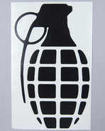 Men Grenade 8.5  Die Cut Sticker Black