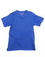 Boys Solid V-Neck Tee (8-20) Blue 10/12 (M)