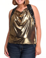 Women Foil Open Back Top (Plus) Gold 1X