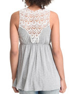 Women Empire Waist Top W/Crochet Back Grey Small