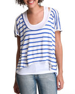 Women Vic Short Sleeve High Low Top Blue Medium