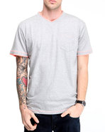 Men S/s V-neck Tee W/ Contrast Double Layer Detail