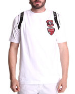 Men Double Patch Tee White Large