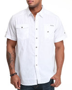 Mo7 Men Deuce Front Pocket Button Down Shirt White