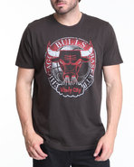 Men Chicago Bulls Basketball Logo Tee Black X-Larg