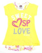 Girls Raglan 2-Fer Top W/Print Stones Yellow 10/12