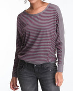 Women Long Sleeve Stripe Top Purple Small