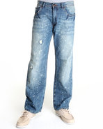 Men Splatterama Bootcut Denim Jeans Light Wash 36X