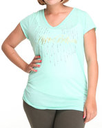 Women Teardrop Ab Logo V-Neck Tee (Plus) Green 2X