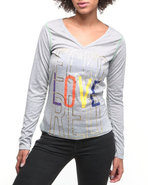 Women Longsleeve V-Neck Tee Grey Medium
