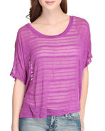 Women Stripe Knit Top Purple Medium