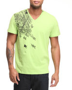 Men S/S V-Neck Shoulder Graphic Tee Lime Green X-L