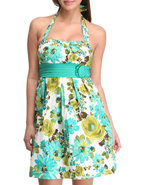 Women Floral Halter Top Spring Dress Green 9/10