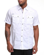 Mo7 Men Poplin Thick Stitch Button Down Shirt Whit