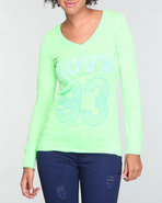 Women Printed Neon Long Sleeve Burnout Green Mediu