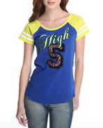 Women Crew Neck Varsity Tee Blue Medium