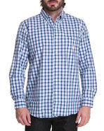 Men Port Royal Gingham L/S Shirt Blue X-Large