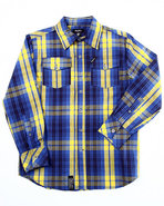 Lrg Boys Celsius Plaid Woven (8-20) Navy 10/12 (M)