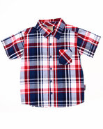 Boys S/S Plaid Woven (8-20) Red 14/16 (L)
