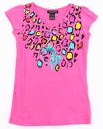 Girls Animal Print Tee (7-16) Pink 7 (S)