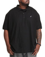 Men Solid Performance Polo (B&T) Black 1X