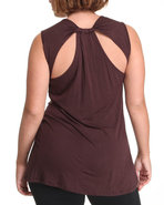 Women Sleeveless Back Detail Top (Plus) Brown 2X
